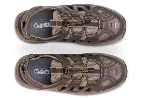 Orthofeet Alpine hiking sandals for diabetes and neuropathy, men, brown
